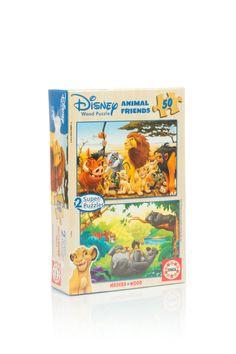Puzzle din lemn, cu personajele preferate din desenele animate, in 2 imagini a cate 50 de piese.