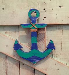 Distressed royal blue and turquoise chevron wood anchor with nautical jute wall art shelf or mantle decor by NautiWoodWorks on Etsy https://www.etsy.com/listing/203619417/distressed-royal-blue-and-turquoise