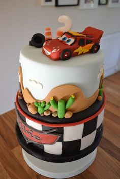 Lightening McQueen Cake - based on Royal Bakery design - by GreensYardBakery @ CakesDecor.com - cake decorating website