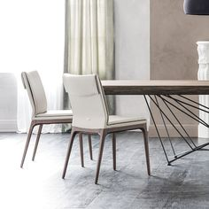 Sofia leather upholstered wooden chair - DIOTTI.COM Dining Chairs, Leather, Furniture, Home Decor, Decoration Home, Room Decor, Dining Chair, Home Furnishings, Home Interior Design