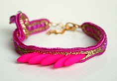 Neon Golden soutache bracelet / Pink and gold ...
