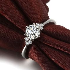 Round Shape Diamond Engagement Ring 950 Platinum by ldiamonds