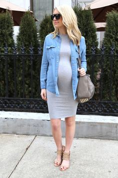 Casual Sunday maternity outfit: gray T-shirt dress, denim shirt with tan sandals.