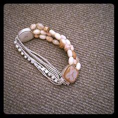 Tan and silver stretch bracelet ****** no brand Jewelry Bracelets