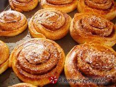 Σουηδικά Ψωμάκια Κανέλλας Sweet Buns, Sweet Pie, Greek Cooking, Bread And Pastries, Recipe Images, Dessert Recipes, Desserts, Greek Recipes, Food To Make