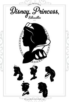 FREE Disney Princess Silhouettes v.3. 6 new silhouettes of Disney heroines! Download the printable or SVG cut file versions for FREE! Perfect for decorations or gifts for the Disney-lover in your life.