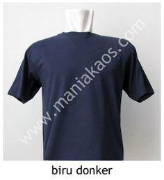 Kaos O-neck Lengan Pendek Biru Donker.