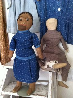 19Th C Early Black Folk Art Doll..with Shoe button eyes..Rag stuffed..