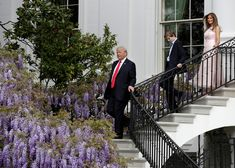 U.S. President Donald Trump, U.S. first lady Melania Trump and their son Barron descend a staircase during the 139th annual White House Easter Egg Roll on the South Lawn of the White House in Washington, U.S., April 17, 2017. REUTERS/Joshua Roberts via @AOL_Lifestyle Read more: https://www.aol.com/article/news/2017/04/18/melania-trump-hosts-secret-easter-party-at-mar-a-lago/22044895/?a_dgi=aolshare_pinterest#fullscreen