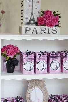 I love the pretty FAVOR BAGS at this Pink Paris Party! Found via Kara's Party Ideas | KarasPartyIdeas.com