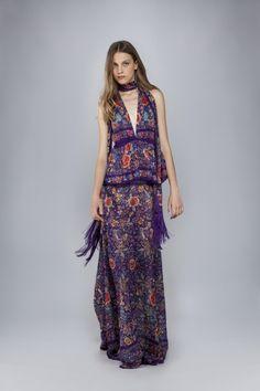 Rüschenkleid Enchanted Garden Lange Kleider Roberto Cavalli