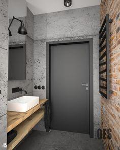 Surowa betonowa łazienka - Mała szara łazienka na poddaszu w bloku w domu jednorodzinnym bez okna, styl nowoczesny - zdjęcie od OES architekci - Homebook Small Cabin Bathroom, Brick Bathroom, Cabin Bathrooms, Simple Bathroom, Modern Bathroom Design, Bathroom Interior Design, Loft Interior Design, Home Design Decor, House Design