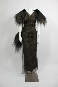 Jacqueline de Ribes Black and Gold Tulle Wrap Gown image 2