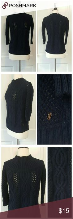 Juicy couture Chunky Cable Knit Sweater Juicy Couture cabled sweater in navy, funnel neck. You will want to wear a cami, see third pic. Juicy Couture Sweaters