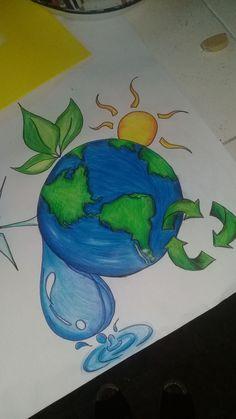 Earth Drawings, Art Drawings For Kids, Pencil Art Drawings, Cute Drawings, Art Sketches, Save Water Poster Drawing, Save Earth Drawing, Nature Posters, Indian Art Paintings
