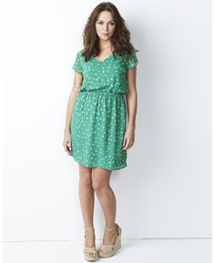Green foil printed butterfly dress, v-neck, elastic waist