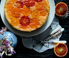 Blood Orange Upside Down Cake - This beautiful orange upside down cake uses blood oranges for both color and flavor. It's a soft, delicate cake that impresses with its comforting taste!