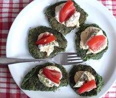 Spinach Protein Patties (with Chicken, Hummus, and Tomatoes)