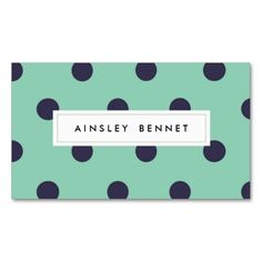 Cute Teal & Mint Polka Dots Patterned Business Cards Business Card - Simply type in your info and order!