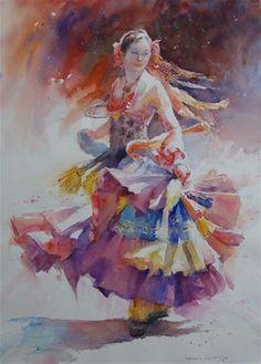 "Daily Paintworks - ""The Dancer"" - Original Fine Art for Sale - © Lorraine Lewitzka Watercolor Illustration, Watercolor Paintings, Original Paintings, Painting People, Figure Painting, Anime Comics, The Dancer, Portrait Sketches, Australian Artists"
