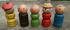 Vintage 5 Fisher Price Wooden Little People for 990 Safety School Bus, Old! | eBay