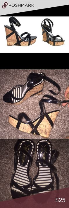 Kardashian Kollection wedges Gently worn strappy wedges! Black & cork. Bottoms are a little dirty, but no stains/damage otherwise. Size 5.5M Kardashian Kollection Shoes