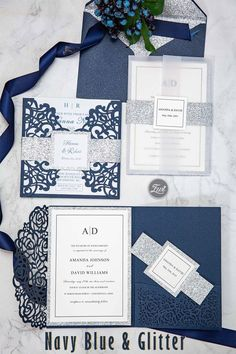 Navy meet silver glitter to create fall winter wedding color for your wedding invite ideas