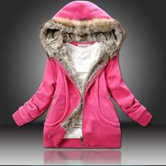 Plus size 5XL Wholesale Winter Coat Sweatshirt Hoodies Fur Hooded Outwear Women Clothing Cardigans Thick Coat Jacket C5410