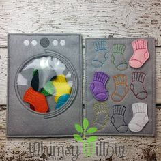 Washer Sock Match Felt Board ITH Embroidery by WhimsyWillowEmb