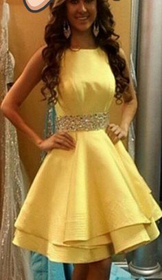 Simple Scoop Cross Back Homecoming Dress Yellow Beaded Satin Party Dress Yellow Homecoming Dresses, Straps Prom Dresses, Prom Party Dresses, Party Gowns, Evening Dresses, Dress Prom, Dresses Short, Sexy Dresses, Simple Prom Dress