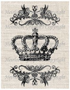 Crown Iron On Digital Transfer - Vintage Royal Crown Digital Download ...