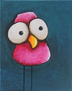 Original acrylic painting canvas whimsical pink bird with textured background #Modernism
