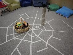 Making spider webs indoors at Brooklyn StrongStart