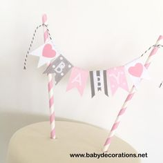Baby Shower Cake Bunting Pink Gray Grey, Cake Topper, Cake Banner, Cake Decoration - http://www.babydecorations.net/baby-shower-cake-bunting-pink-gray-grey-cake-topper-cake-banner-cake-decoration.html