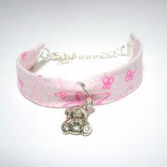 """Bracelet enfant en tissu  pour  fillette """"rose clair nounours """""""