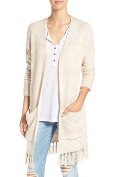 Free shipping and returns on Billabong 'Hey You' Jacquard Fringe Cardigan at Nordstrom.com. Tonal jacquard elevates this longline cardigan made from a soft cotton blend and finished with blanket-stitched edges, roomy patch pockets and lush tassel fringe.
