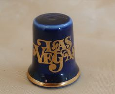 Las Vegas Souvenir Thimble, Vintage Cobalt Blue with Red Dice on Back, Pretty Dark Blue Color, Made in Japan by MendozamVintage on Etsy