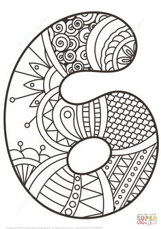 Number 6 Zentangle | Super Coloring