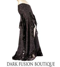 Skirt, YOUR SIZE, Black Super Sparkle Silver Glitter with Ruffles, Nouveau, Fusion, Noir, Tribal Belly Dance, Cabaret, Cocktail, Long