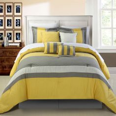 Every bed becomes an inviting retreat when it's dressed with the Delmonte 12 Piece Comforter Set by Chic Home . This oversized comforter set includes. Yellow Gray Bedroom, Grey Bedroom Design, Yellow Bedding, Bedroom Designs, Grey Bedding, King Comforter Sets, Bedding Sets, Bedroom Sets, Bedroom Decor