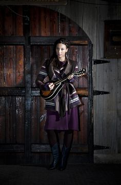 Paper People Clothing - Fall Winter 2013 2014 - Lorraine Cardigan - Reclaimed Vintage - Upcycled - Striped - Purple - Brown - Mandolin - Eco Fashion - Braid - Layering
