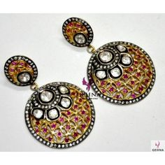 Pink Tourmaline Diamond Cut Gemstone & Moissanite Rose Cut Studded Round Earring