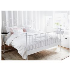 LEIRVIK Bed frame IKEA 16 slats of layer-glued birch adjust to your body weight and increase the suppleness of the mattress. Cama Ikea, King Beds, Queen Beds, Ikea Leirvik, White Metal Bed, White Ikea Bed, Ikea Portugal, Full Bed Frame, Full Beds