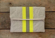 fireman turnout coat clutch / gray and neon by SassyStitchesbyLori