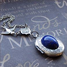 Silver Oval Locket Necklace- Enchanted Lapis Lazuli - Jewelry by TheEnchantedLocket - LOVELY Bride Mother Wedding Gift