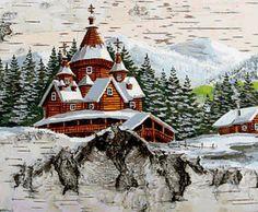живопись на бересте - Поиск в Google Pictures On String, Felt Pictures, Old Christmas, Christmas Images, Christmas Ornaments, Winter Szenen, Winter Time, Winter Painting, Wood Burning Art