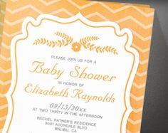 Orange Chevron Stripes Baby Shower Invitation