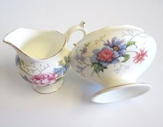 Vintage Sugar and Cream Set Crown Staffordshire by TheWhistlingMan, £15.00