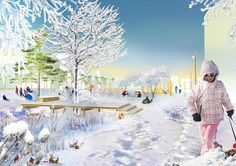 'Jaanila Country' by KCAP with Felixx awarded with Habitat award for public space design #landscape #architecture #concept #render #winter #snow