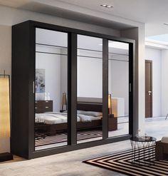 Brand New Modern Bedroom Mirror Sliding Door Wardrobe ARTI 2 in Wenge sold by Arthauss 3 Door Sliding Wardrobe, Sliding Doors, Bedroom Color Schemes, Bedroom Colors, Colour Schemes, Modern Bedroom, Master Bedroom, Interior Exterior, Interior Design
